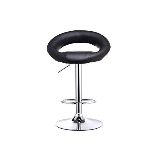 HYY-YY Piel taburetes de la Barra giratoria Negro Cromo Bar Cocina Desayuno Presidente taburetes con reposapiés Respaldo cómodo (Color: Negro, tamaño: 82 * 54 * 54cm)