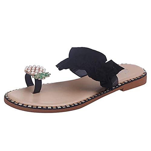 Generp-AT Sandales Plates pour Dames Ananas Scintillant Perle Strass Tongs Plates Bohème Perle Slip on Slides Sandales pour Femmes Chaussures de Plage d été Vêtements Quotidiens Différentes Good