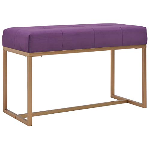 vidaXL Banco Asiento Silla Sillón Taburete Banquillo Mueble Mobiliario de Hogar Salón Cocina Bar Casa Patio 80 cm Terciopelo Morada