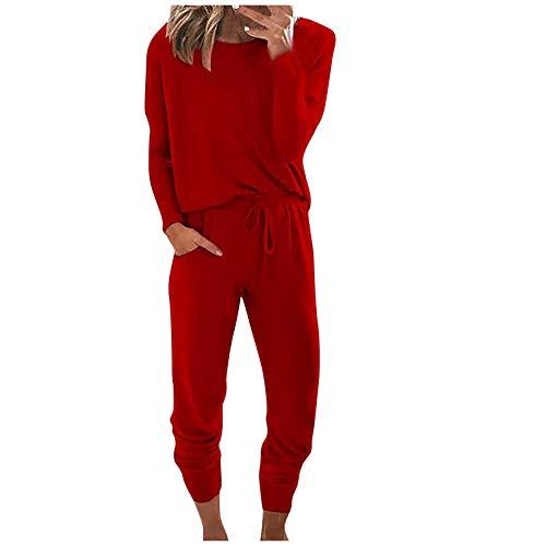 CawBing Zweiteilige Sportkleidung für Damen, Zweiteilige Anzugkleidung Plus Hose, einfarbiger Rundhals-Pullover mit Batikfarbe, Hosenanzug, Overall, Pyjama-Anzug