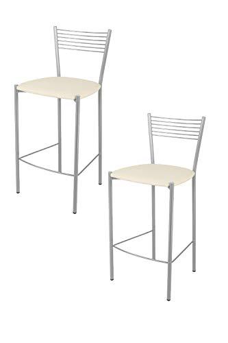 Tommychairs - Set 2 sgabelli alti modello Elegance per cucina e bar, struttura in acciaio verniciata colore alluminio e seduta imbottita e rivestita in pelle artificiale colore avorio