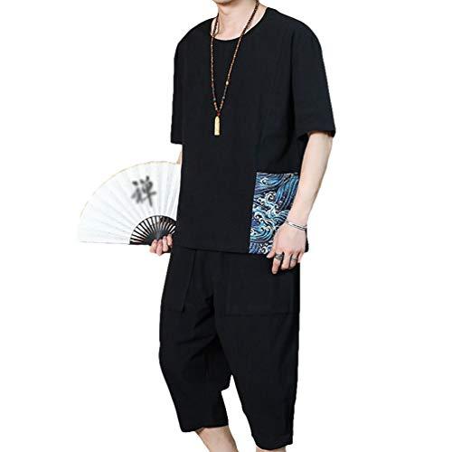 Liangzhu Freizeit Anzug 2Pcs Herren Chinesische Kleidung Hanfu Kurzarm Tops Hemd Lose Cropped Hosen (Schwarz#2, Asia XL)