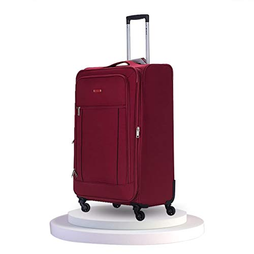 21'/55cm Super Lightweight Durable Cabin Hand Luggage Suitcases Travel Bag with 4 Wheels & Carry On Approved for Ryanair, EasyJet, BA, TUI, Jet2(21' Carry-on, Wine)