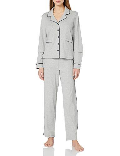 Seidensticker Damen Web lang Pyjamaset, hellgrau-Mel, 36