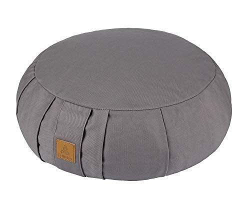 FelizMax Round Zafu Meditation Cushion, Zabuton Meditation Pillow, Yoga Bolster/Pillow, Floor seat, Zippered Organic Cotton Cover, Natural Buckwheat, Kneeling Pillow - Grey and Large