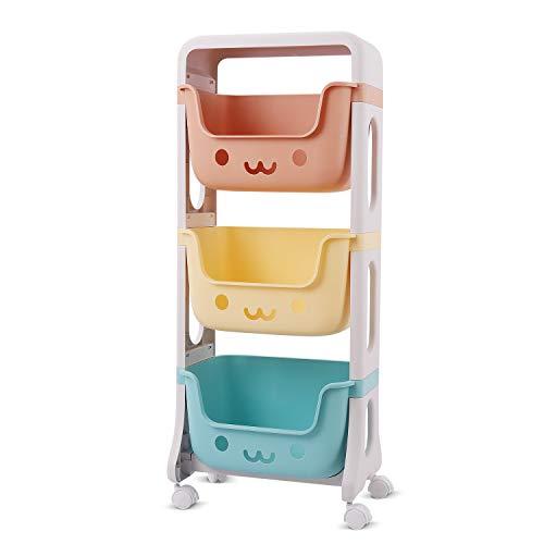 Johgee 39.5x25x95cm Aufbewahrungsregal 3 Etagen buntes Kinderregal mit 4 leichtläufigen 360°drehbar Räder, Aufbewahrungswagen Organizer für Kinderkommode Spielzeug Multi Toy