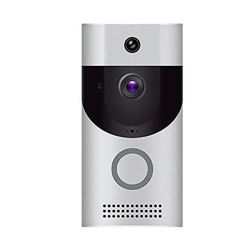 XCUGK Timbre de Video inalámbrico 720P HD, cámara de Seguridad Inteligente, conversación bidireccional en Tiempo Real,detección de Movimiento PIR, Control Remoto de Aplicaciones,White