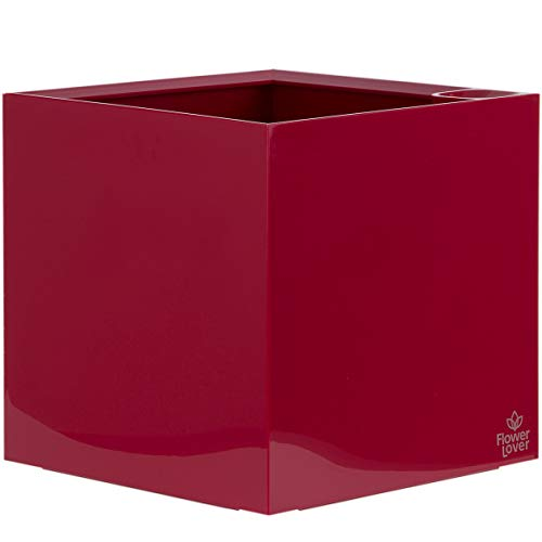 myBoxshop Jardinière moderne en forme de cube de 33 litres avec réservoir d'eau et granulés d'argile.