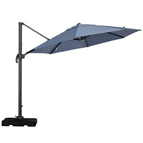 Bay 9.6 Ft. Outdoor Canopy Sunshade Umbrella, Lavender, Gray, and Black