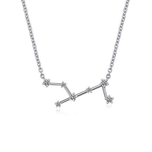 Jiamiaoi Women's 12 Horoscope Necklace Virgo 925 Sterling Silver Zodiac Sign 12 Constellation Necklace Astrology CZ Pendant Necklace Star Necklace Birthstone Necklace Birthday Gift Chain:46cm/18'