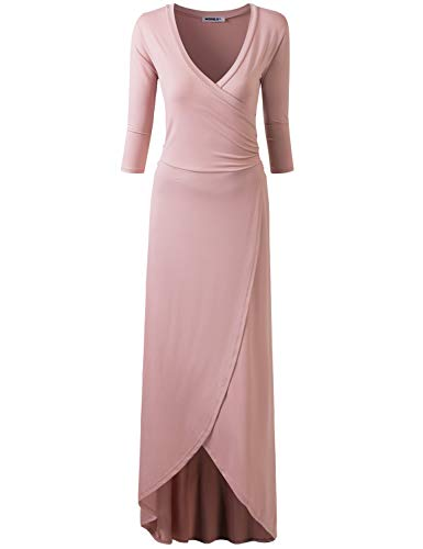Doublju Women#039s 3/4 Sleeve Pleated TShirt Dress with Casual Loose Deep VNeck Long Dress Ltmauve M