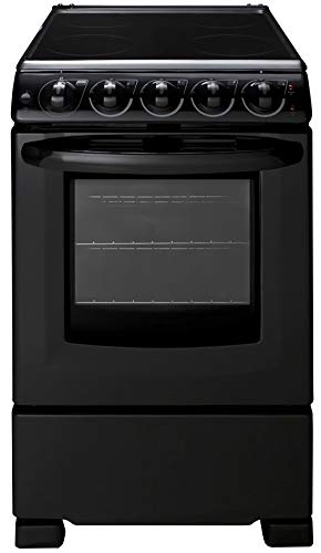 Summit Appliance REX2051BRT 20' Wide Electric Smooth-Top Range Oven, Black; Smooth Ceramic Glass Top, Removable Backguard, 4 Cooking Zones, Push-to-turn Burner Knobs, Waist-high Broiler