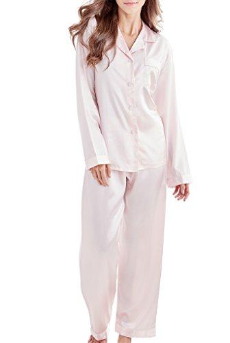 Damen Schlafanzug Pyjama Satin Lang Nachtwäsche Set Klassische Loungewear (Rosa, M)