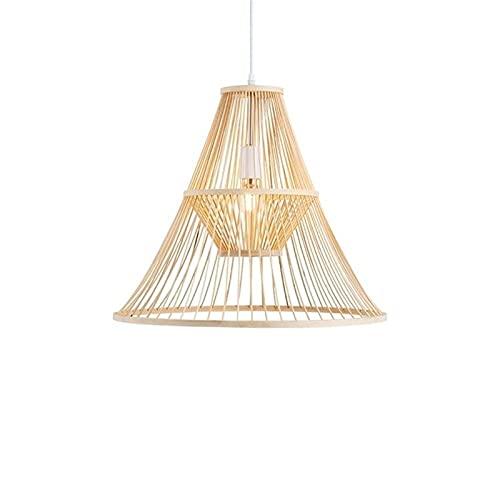 Wlgt Candelabro, bricolaje bambú ratán pantalla de techo luz colgante sala de estar dormitorio lámpara colgante clásico retro luces colgantes decoración interior iluminación candelabros para bar hotel