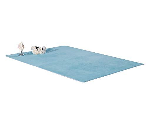 Shaggy Alfombra Rectángulo Habitaciones Alfombra Para Elegir Dormitorio Azul Claro 40 * 60CM