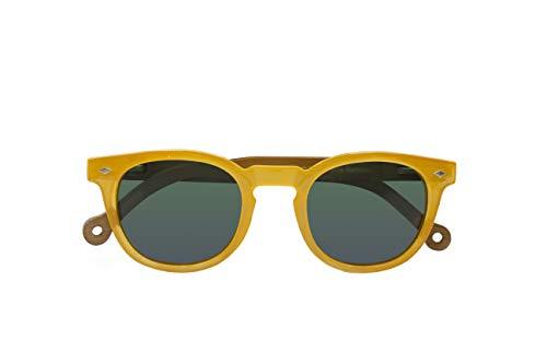 Parafina - Gafas de Sol Polarizadas para Hombre y Mujer - Gafas de Sol Redondas Anti-reflejantes Amarillas - Lentes Verdes