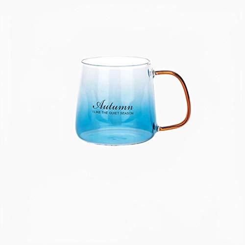 Copas De Champán, Tazas, Regalos Taza De Leche De Desayuno De Océano Azul De 425 Ml, Taza De Jugo De Mango Dorado, Taza De Helado De Estilo Nórdico Con Alfabeto De Vidrio De Café