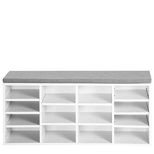 Belissy Zapatero con cojín de asiento, zapatero, zapatero, banco, 14 compartimentos, con acolchado, para entrada, pasillo, dormitorio, 103,5 x 30 x 48 cm, color blanco