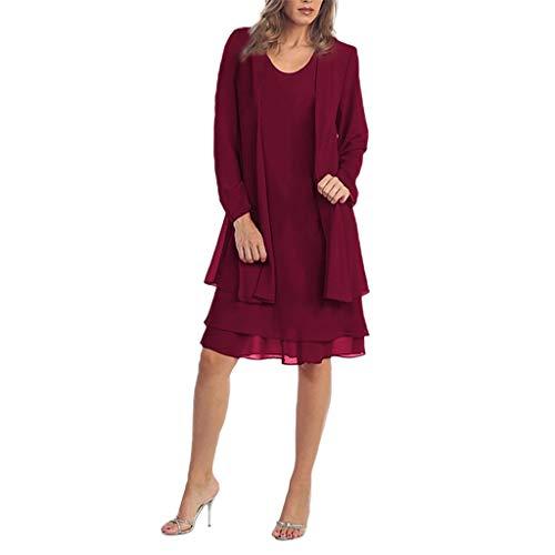Damen Kleider Mode Baggy Freizeit Kleid Chiffon Zwei Stücke Charmante einfarbige Mutter der Braut Spitze Kleider Party täglich Maxi-Kleid Wein 4XL