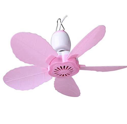 WENYAO Kleiner Deckenventilator Mini Kleiner Ventilator/Energiesparender Schlafsaal Paging-Ventilator/Fünfblättriges Moskitonetz, Pink, 90 cm