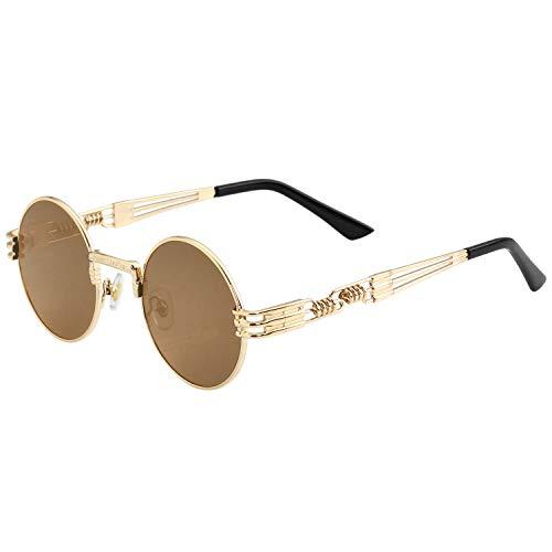 Gafas de sol redondas Steampunk para hombres mujeres retro marco de metal John Lennon hippie gafas, Marrón (Marco dorado/Marrón), Medium