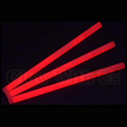 "Glow Sticks Bulk Wholesale, 10 12"" 15mm Dia. Red Industrial Grade Jumbo Light Sticks, Bright Color, Glow 14 Hrs, Safety Glow Stick 3yrs Shelf Life, Ideal for Camping & Emergency, GlowWithUs Brand"