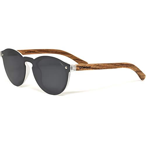GOWOOD Zebraholz Runde Sonnenbrille für Herren und Damen mit spezieller einteiliger schwarz polarisierter Linse