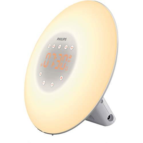 Philips Wake-up Light HF3506/30 - Despertador de luz led, radio FM, simulación del amanecer y del atardecer, 2 sonidos naturales, 1 alarma, 200 Lux, plata