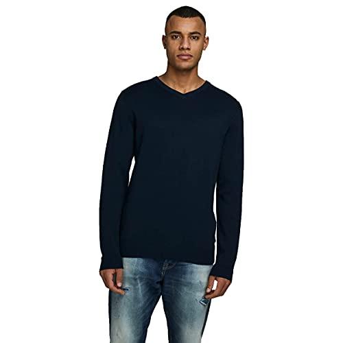 Jack & Jones Jjebasic Knit V-Neck Noos suéter, Azul...