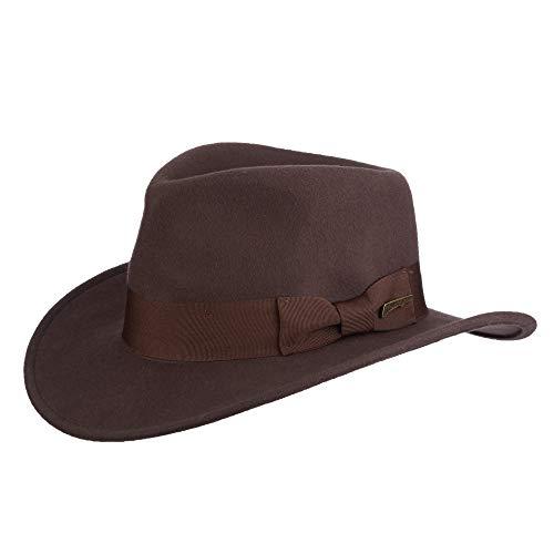 Dorfman Pacific Indiana Jones Herren Wollfilz wasserabweisend Outback Fedora mit Grosgrain - Braun - Large