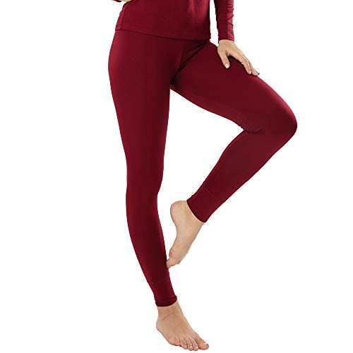 MANCYFIT Thermal Leggings for Women Fleece Lined Pants Long Underwear Bottoms Wine Red Large