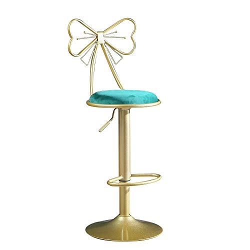 QHW Butterfly Metal backrest bar Stool, Rotating and Lifting, Light Luxury Home high Stool, Ergonomic bar Stool (Multi-Color Optional)