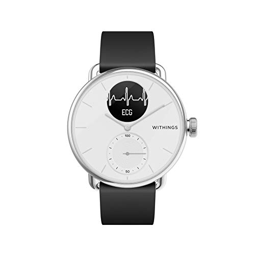 Withings Unisex-Adult Scanwatch 38mm White Hybrid Smartwatch mit EKG, Herzfrequenzsensor und Oximeter, weiß