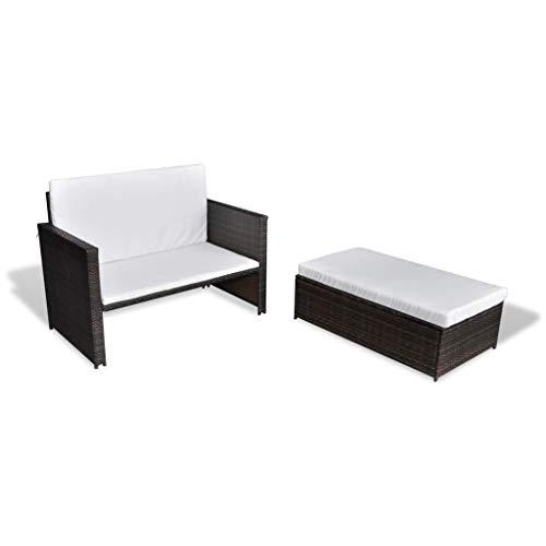 vidaXL Gartensofa Sitzgruppe Sofa Lounge Garnitur Gartenmöbel Hocker Gartenset Gartenbank Sitzbank Bank Sitzgarnitur Poly Rattan Braun