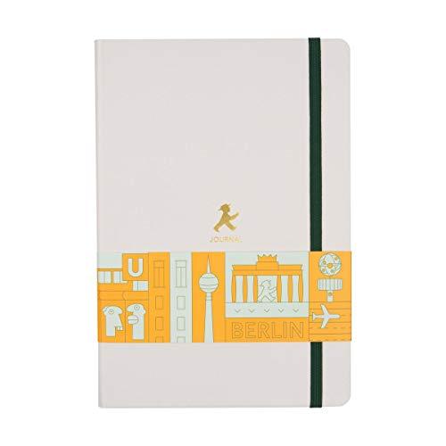 AMPELMANN Schreibwarenhändler BERLIN - Notizbuch DIN A5-100 Blatt liniert in Hellgrau mit Berlin Illustrationen und Gummiband