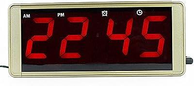 MGS-Reloj@Ultra gran pantalla LED digital reloj metal caso enchufe para congelados despertador