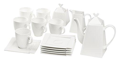 Dajar kubiko Café–Set 17Piezas, Porcelana, Blanco, 27,3x 19,7x 24,7cm,–Unidades