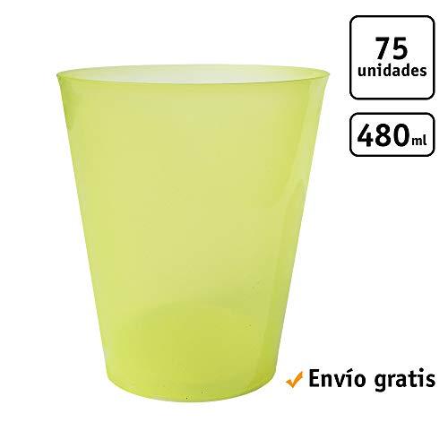 TELEVASO - 75 uds - Vaso Sidra 480 ml Reutilizable Ligero - Polipropileno (PP) - Color Amarillo - Vaso ecológico Libre de BPA, Ideal para Cerveza, cubatas, Agua