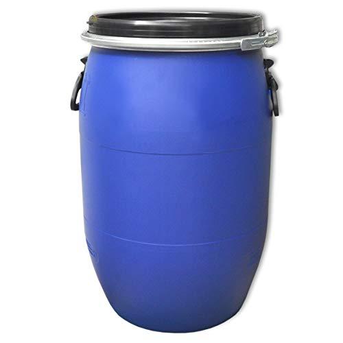 Kunststofffass blau mit Dichtung Spannring und Deckel Sonderangebot! Kunststoff Fass Deckelfass Rundfass Standfass Spundfass (60 Liter)