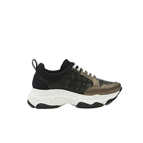 Pollini TA15055G08Q1 - Zapatillas Deportivas para Mujer, Color Negro y Beige