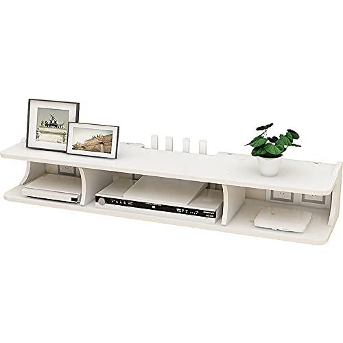 Consola Multimedia Montada,Mueble de TV Flotante,Gran Capacidad,Soporte para Decodificador Utilizado para Enrutadores,Controles Remotos Y Reproductores de DVD/Blanco / 80x20x14cm