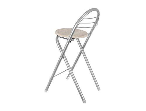 FHU Zusammenklappbarer Barhocker mit Rückenlehne und Fußstütze, Tresenstuhl, Hocker, Klappbar, 79 cm, Silber-Holzoptik Sonoma