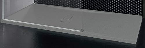 Piatto Doccia Novellini Custom Touch Ultrapiatto Dimensione 120x90 Spessore 3,5 cm Colore Grigio Metacrilato Appoggio Filo Pavimento Sagomabile Effetto Pietra Compreso Piletta Scarico e Copri Piletta