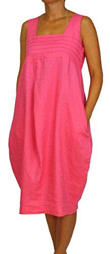 Perano 24098 Damen Leinen Sommerkleid Ballonkleid Farbe Pink Konfektionsgröße 40 Internationale Größe L pink Gr. 40/L