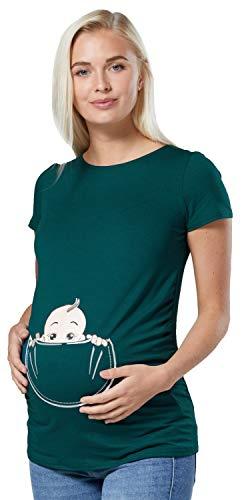 Zeta Ville - Shirt Camiseta Premamá Estampado bebé asomándose para Mujer - 501c