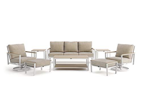 Winston Echo Cushion - 8-Piece Sofa, Swivel Lounge Chair, Ottoman and Side Table Seating Set - Fog Frame - Beech Wood Armcaps - Sunbrella Cast Ash Fabric