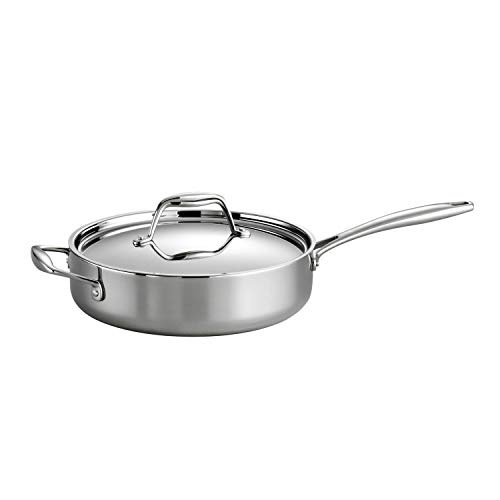 Tramontina Covered Deep Saute Pan Stainless Steel Induction-Ready Tri-Ply Clad 3-Quart, 80116/058DS