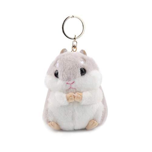 LJSLYJ Frauen Hamster Plüsch Schlüsselanhänger Cute Stofftier Handtasche Anhänger für Handtasche, Hellgrau