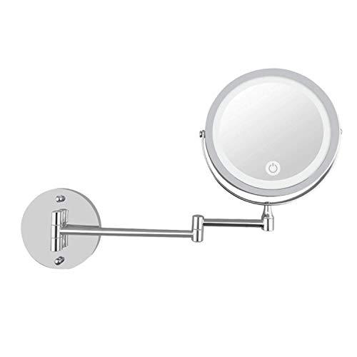 Outingstarcase Cosmética Espejo de baño de la manera LED de 7 pulgadas de maquillaje espejo plegable doble de montaje en pared de carga USB Touch Espejo con Atenuación 10 veces de aumento Espejo de pa