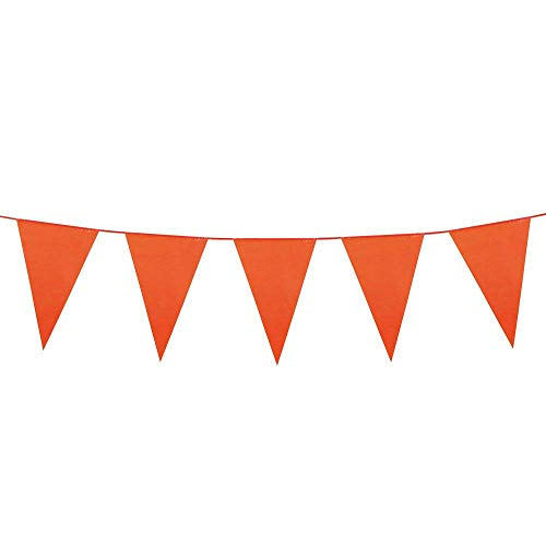 Boland 74756 wimpelketting oranje, 1 stuks, lengte 10 meter, vlaggetjesslinger, kunststof slinger, hangdecoratie, carnaval, themafeestje, verjaardag, kleuterschool, disco, arancione